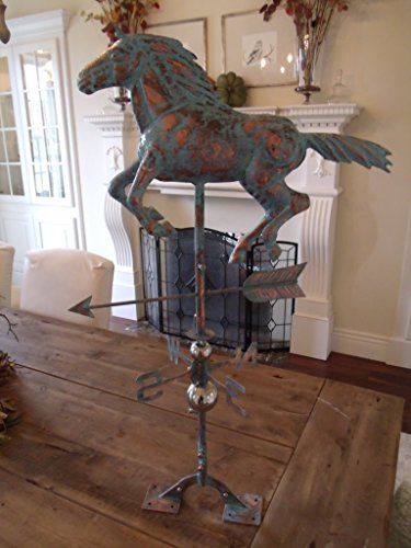 LARGE-Handcrafted-3D-3-Dimensional-Running-HORSE-Weathervane-Copper-Patina-Finish-0-0