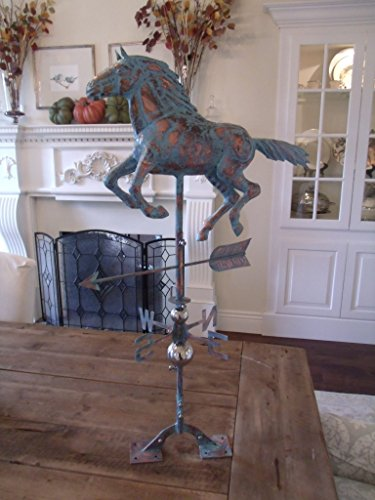 LARGE-Handcrafted-3D-3-Dimensional-Running-HORSE-Weathervane-Copper-Patina-Finish-0-1