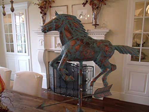 LARGE-Handcrafted-3D-3-Dimensional-Running-HORSE-Weathervane-Copper-Patina-Finish-0