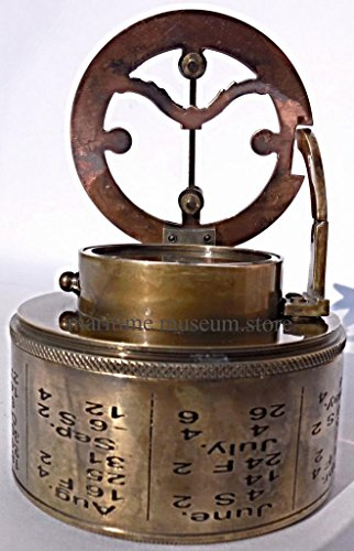 Maritime-Antiques-Nautical-Brass-Box-Sundial-Compass-Drum-Sundial-with-Leather-Box-C-3020-0-0