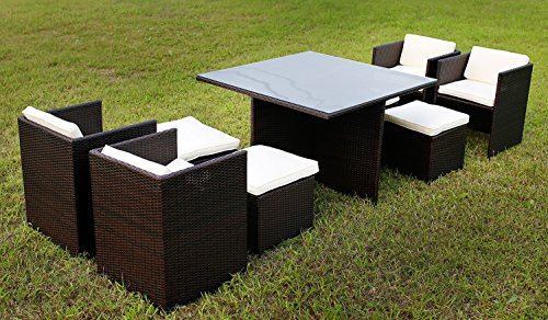 Merax-9-Pc-Modern-IndoorOutdoor-All-Weather-PE-Wicker-Rattan-Table-Patio-Set-Gardern-Furniture-Dining-Sets-0-0
