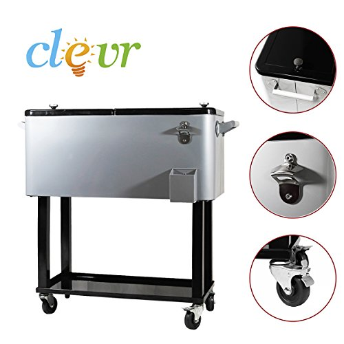 New-Clevr-Outdoor-80quart-Party-Portable-Rolling-Cooler-Ice-Chest-0