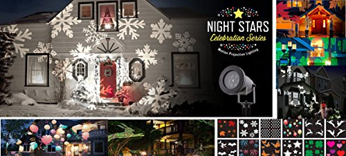 Night-Stars-Celebration-Series-LED-Image-Motion-Projection-Light-w-12-Festive-Slides-Christmas-Halloween-St-Patricks-Day-Many-Holidays-0
