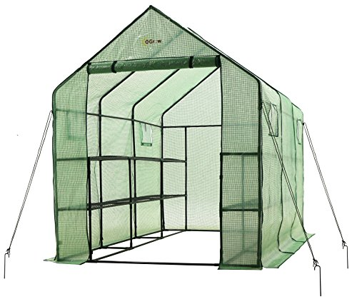 Ogrow-2-Tier-12-Shelf-Portable-Garden-Walk-in-Greenhouse-117-x-67-x-83-Dark-Green-0