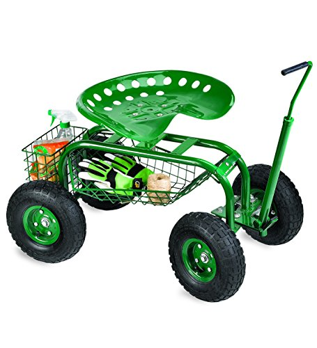 Plow-Hearth-Rolling-Scoot-N-Do-Garden-Seat-Powder-Coated-Tubular-Steel-Green-54L-x-17L-x-27H-0