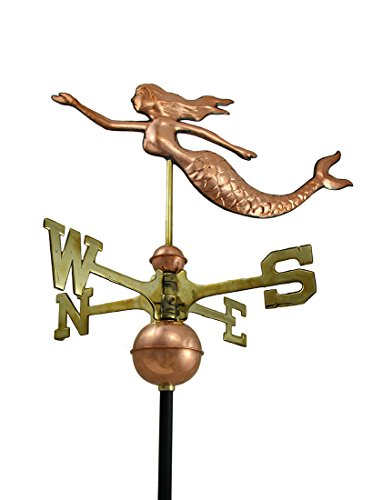 Polished-Copper-Decorative-Swimming-Mermaid-Weather-Vane-0