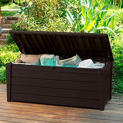 Pool-Deck-Storage-Box-and-Bench-is-2-in-1-Multifunctional-Patio-Seat-Resin-UV-Protected-120-Gallon-Pool-and-Yard-Container-for-Cushions-Table-Covers-Candles-Beach-Toys-0