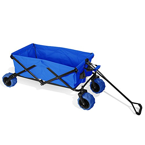 Premium-Quality-All-Terrain-Utility-Wagon-Collapsible-with-Extra-Wide-Heavy-Duty-Wheels-Folding-Outdoor-Indoor-150lbs-Assorted-Colors-0