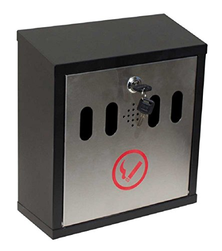Qualarc-WF-8022-Hayward-Wall-Mount-Cigarette-Ash-Receptacle-Black-with-Stainless-0