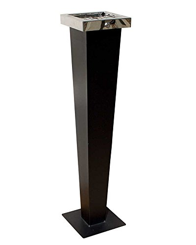 Qualarc-WF-PS08S-Huron-Free-Standing-Cigarette-Ash-Receptacle-Black-with-Chrome-0