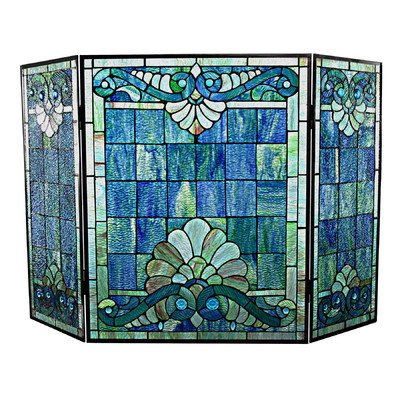 River-of-Goods-15047-Tiffany-Style-Stained-Glass-Swirling-Shells-Fireplace-Screen-28-H-0