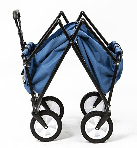 Seina-Collapsible-Folding-Utility-Wagon-Garden-Cart-Shopping-Beach-Outdoors-Blue-0-0
