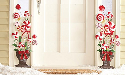 Set-of-2-Whimsical-Peppermint-Candy-Lollipop-Candy-Cane-Christmas-Tree-Shape-Topiary-Urn-Planter-Flank-Doorway-Entrance-Hang-on-Wall-or-Stake-in-Yard-Holiday-Decoration-0