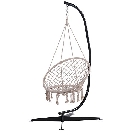 Sundale-Outdoor-C-Shape-Steel-Hammock-Swing-Chair-Stand-for-Outdoor-and-Indoor-225-Pounds-Capacity-0-0
