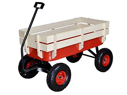 TMS-Outdoor-Wagon-All-Terrain-Pulling-w-Wood-Railing-Air-Tires-Children-Kid-Garden-0