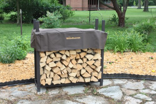 The-Woodhaven-4-Foot-Brown-Outdoor-Firewood-Log-Rack-with-Cover-0