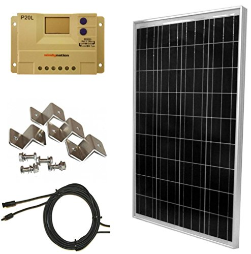 WINDYNATION-Complete-Solar-100-Watt-Panel-Kit-100W-Solar-Panel-20A-LCD-Display-PWM-Charge-Controller-MC4-Connectors-Mounting-Z-Brackets-for-12V-Battery-off-grid-RV-Boat-0