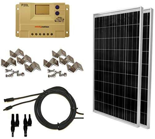 WINDYNATION-Complete-Solar-200-Watt-Panel-Kit-200W-Solar-Panel-20A-LCD-Display-PWM-Charge-Controller-MC4-Connectors-Mounting-Z-Brackets-for-12V-Battery-off-grid-RV-Boat-0