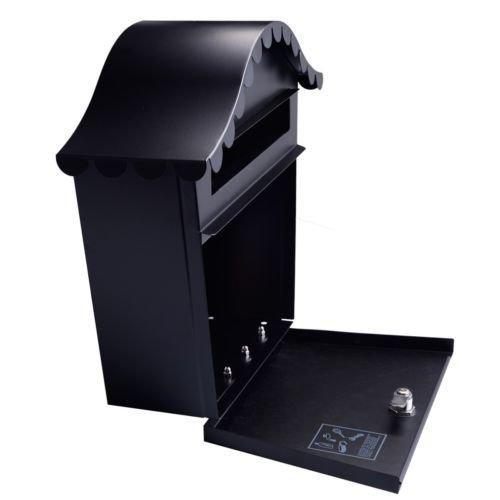 Wall-Mount-Black-Mail-Box-w-Retrieval-Door-2-Keys-Steel-MailBox-New-0-0