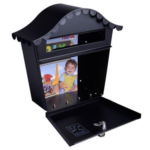 Wall-Mount-Black-Mail-Box-w-Retrieval-Door-2-Keys-Steel-MailBox-New-0-1
