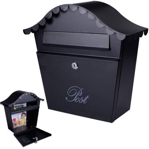 Wall-Mount-Black-Mail-Box-w-Retrieval-Door-2-Keys-Steel-MailBox-New-0