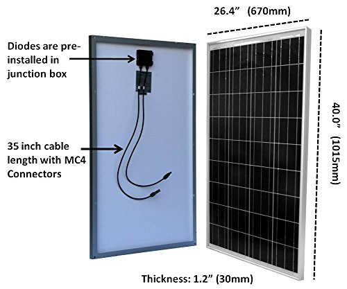 WindyNation-100-Watt-100W-Solar-Panel-for-12-Volt-Battery-Charging-RV-Boat-Off-Grid-0-0