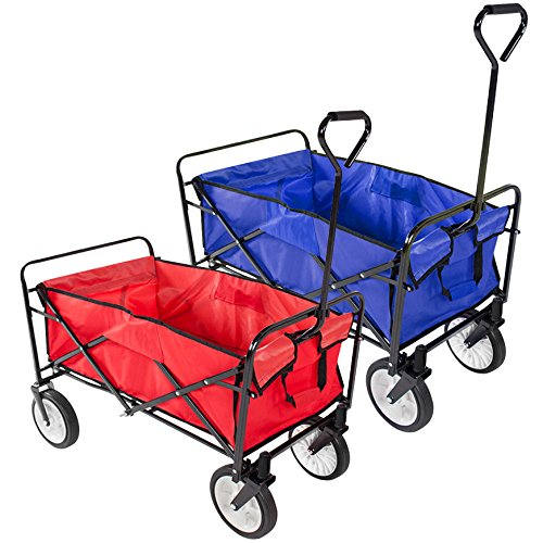 Yaheetech-Folding-Collapsible-Utility-Wagon-Garden-Cart-Shopping-Buggy-Yard-Beach-Blue-Red-0