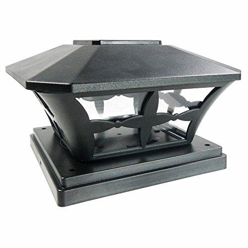 iGlow-8-Pack-Black-White-Outdoor-Garden-6-x-6-Solar-SMD-LED-Post-Deck-Cap-Square-Fence-Light-Landscape-PVC-Vinyl-Wood-0-0