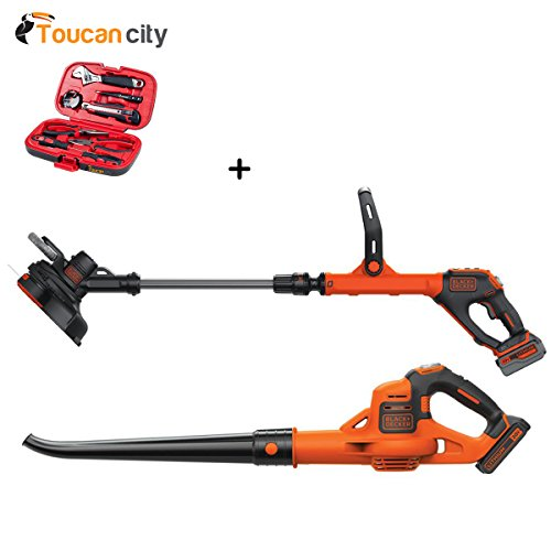 Toucan-City-BLACKDECKER-12-in-20-Volt-MAX-Lithium-Ion-Cordless-String-Trimmer-with-30Ah-Battery-Charger-and-Bonus-Sweeper-and-20Ah-Battery-LSTE523LSW321-and-Tool-kit-9-piece-0