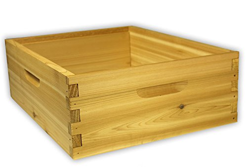 10-Frame-Medium-Hive-Box-Premium-Cedar-Wood-for-Langstroth-Beekeeping-Made-in-USA-16-x-19-x-6-inches-0
