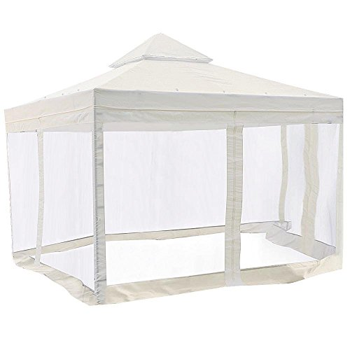 10-x-10-ft-Gazebo-Top-Replacement-with-Side-Screen-Netting-Ivory-White-by-Newleaf-0
