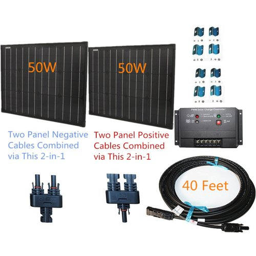 100w-100-Watt-Two-50w-SuperBlack-Solar-Panels-Plug-n-Power-Space-Flex-Kit-for-12v-Off-Grid-Battery-next-day-from-US-0