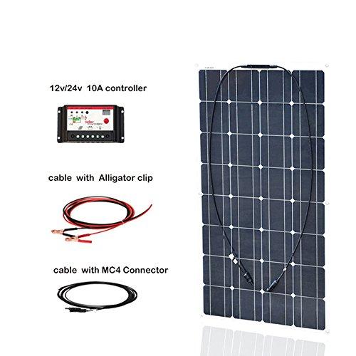 100w-16v-Semi-Flexible-Solar-Panel-Kit-System-Monocrystalline-Cell-Module-10A-12v24v-Controller-3m-MC4-Cable-3m-Alligator-Cable-for-12v-Battery-RV-Boat-Vehicle-Caravan-0