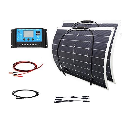 100w-18v-Solar-DIY-Kits-System-2x-50w-Semi-Flexible-Solar-Panel-10A-12v24v-USB-Controller-3m-MC4-Cable-3m-Alligator-Clip-Cable-Y-Type-for-Boat-Yacht-Car-RV-0
