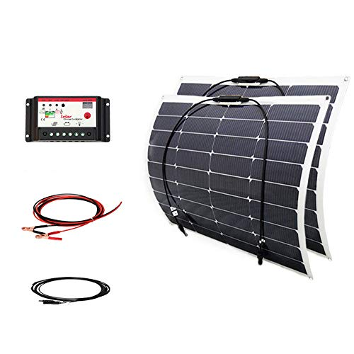 100w-18v-Solar-Panel-DIY-Kits-System-2x-50w-Semi-Flexible-Solar-Panel-10A-12v24v-Controller-3m-MC4-Cable-3m-Aligator-clip-Cable-for-Boat-Car-Yacht-12v-Battery-Charger-0
