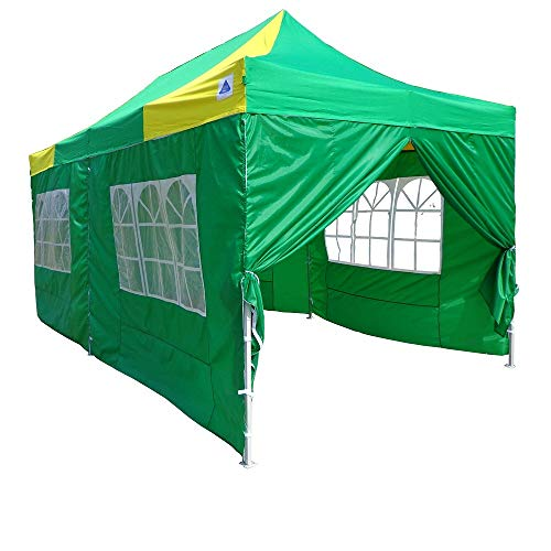 10×20-Pop-UP-Canopy-Wedding-Party-Tent-Instant-EZ-UP-Canopy-GreenYellow-F-Model-Commercial-Frame-By-DELTA-0