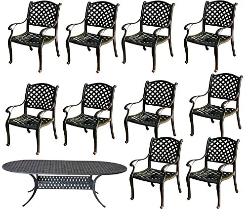 11-Pc-Dining-Set-Cast-Aluminum-Patio-Furniture-10-Nassau-Chairs-1-42×102-Oval-Table-0