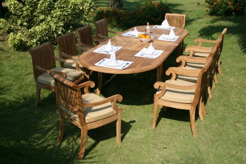 11-Pc-Grade-A-Teak-Wood-Dining-Set-117-Double-Extension-Oval-Table-10-Giva-Arm-Captain-Chairs-WFDSGVs-0-0