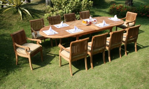 11-Pc-Grade-A-Teak-Wood-Dining-Set-117-Double-Extension-Oval-Table-10-Giva-Arm-Captain-Chairs-WFDSGVs-0