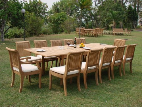 13-Pc-Grade-A-Teak-Wood-Dining-Set-Very-Large-122-Caranasas-Double-Extension-Rectangle-Table-12-Giva-Chairs-10-Armless-and-2-Arm-Captain-WFDSGV15-0