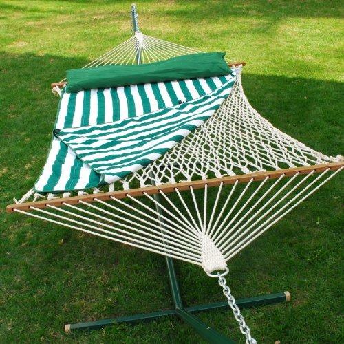 13-ft-Cotton-Rope-Hammock-w-Pad-Pillow-Set-0