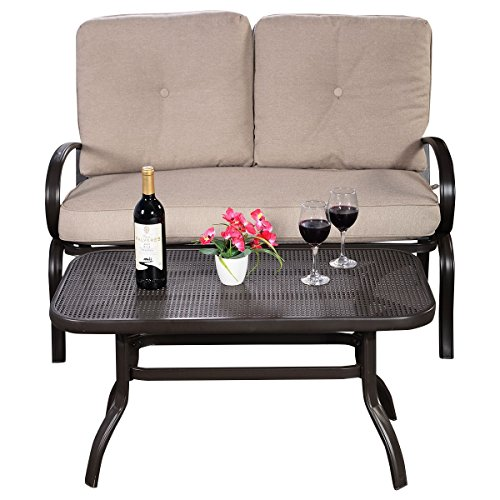 2-Pcs-Patio-Outdoor-LoveSeat-Coffee-Table-Set-Furniture-Bench-With-Cushion-0-0