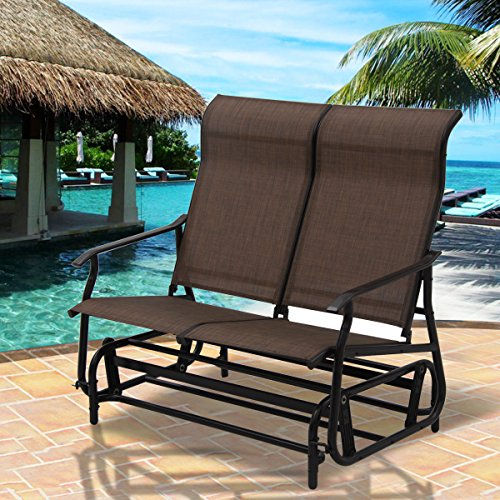 2-Person-Glider-Rocking-Bench-Double-Chair-Loveseat-Patio-Tan-Armchair-0-0