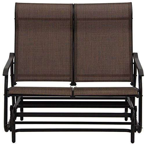2-Person-Glider-Rocking-Bench-Double-Chair-Loveseat-Patio-Tan-Armchair-0-1