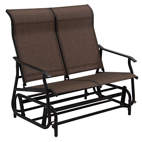 2-Person-Glider-Rocking-Bench-Double-Chair-Loveseat-Patio-Tan-Armchair-0-2