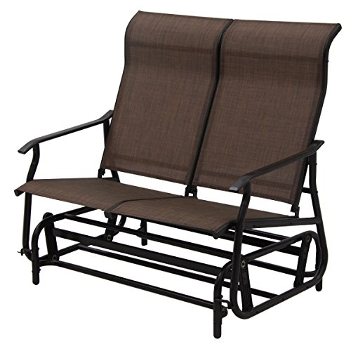 2-Person-Glider-Rocking-Bench-Double-Chair-Loveseat-Patio-Tan-Armchair-0