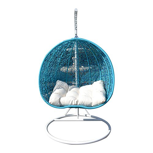2-Persons-Seater-Egg-Shape-Wicker-Rattan-Swing-Lounge-Chair-Hammock-TURQUOISE-0