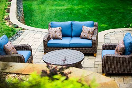 2nd-Shade-Patio-Furniture-Sunbrella-Padded-Outdoor-Wicker-4-Piece-Loveseat-Set-Aluminum-Frame-and-UV-Coated-Wicker-0