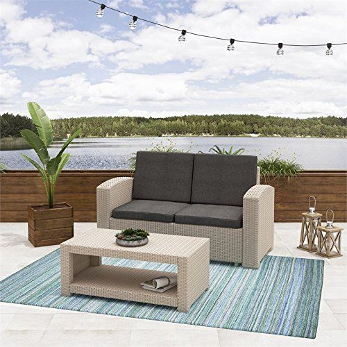 2pc-All-Weather-Beige-Loveseat-Patio-Set-with-Dark-Grey-Cushions-0-0