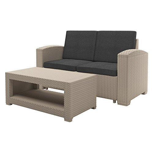 2pc-All-Weather-Beige-Loveseat-Patio-Set-with-Dark-Grey-Cushions-0